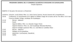 Programa Congreso Eucarísitico Martes 17