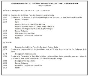 Programa Congreso Eucarístico Miércoles 18