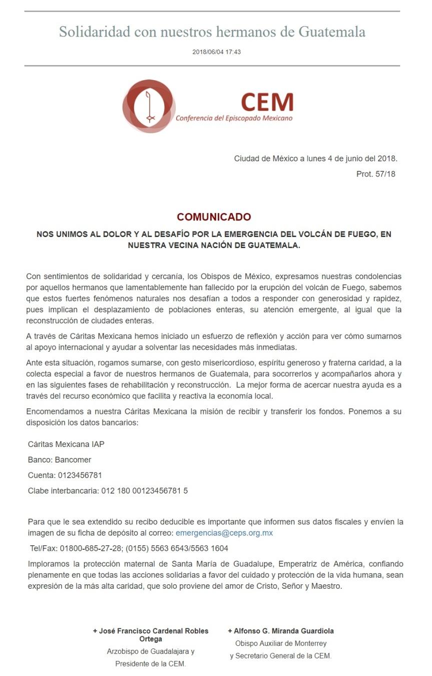 Comunicado CEM 04-06-18